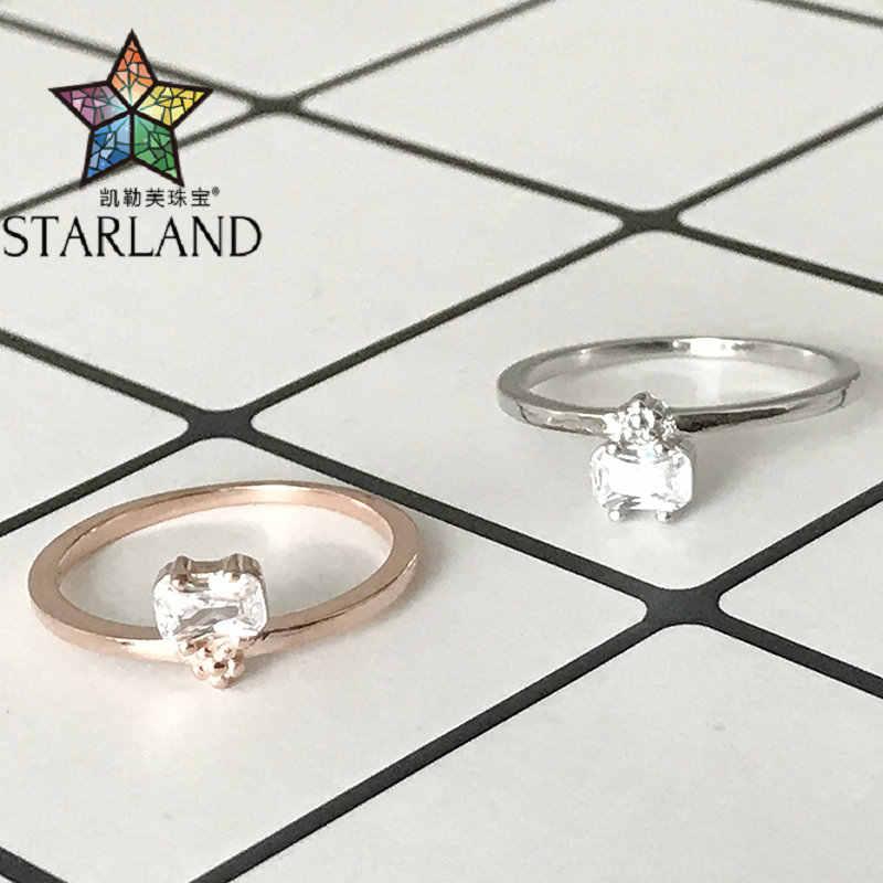 Starland 2020 חדש 925 כסף סטרלינג כיכר זירקון טבעות לנשים רוז זהב צבע אינפיניטי טבעת חתונה טבעת תכשיטים מתנה