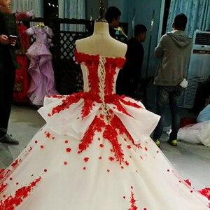 Image 5 - LSS037 Đỏ 3D hoa cao cấp áo nhanh chóng vận chuyển từ Trung Quốc ngoài khơi vai cổ chữ V phối ren lưng bầu buổi tối đầm