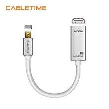 Cabletime mini porta de exibição para hdmi-adaptador compatível m/f 1080p thunderbolt para hdmi-compatível para macbook pro ar imac n169
