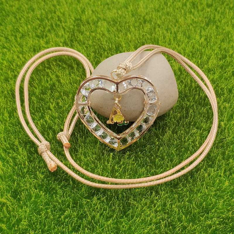 Heart Love Design A-Z 26 Letters Gold Necklace Pendant Adjustable Enamel Rope Male Female Birthday Lover Gift AG001-026