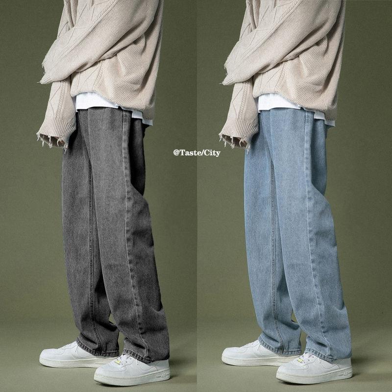Korean Breiten-bein Jeans männer Mode Retro Casual Jeans Männer Streetwear Herbst Wilden Lose Hip-hop Gerade denim Hosen Herren M-2XL