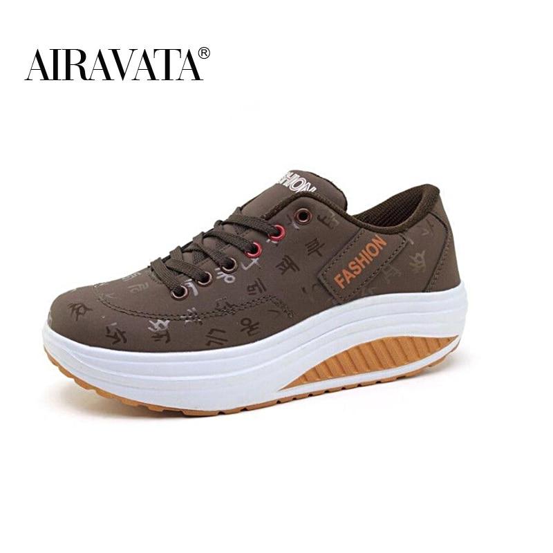 coffee-Women Platform Running Shake Shoes Thick Bottom Wedges Sneakers