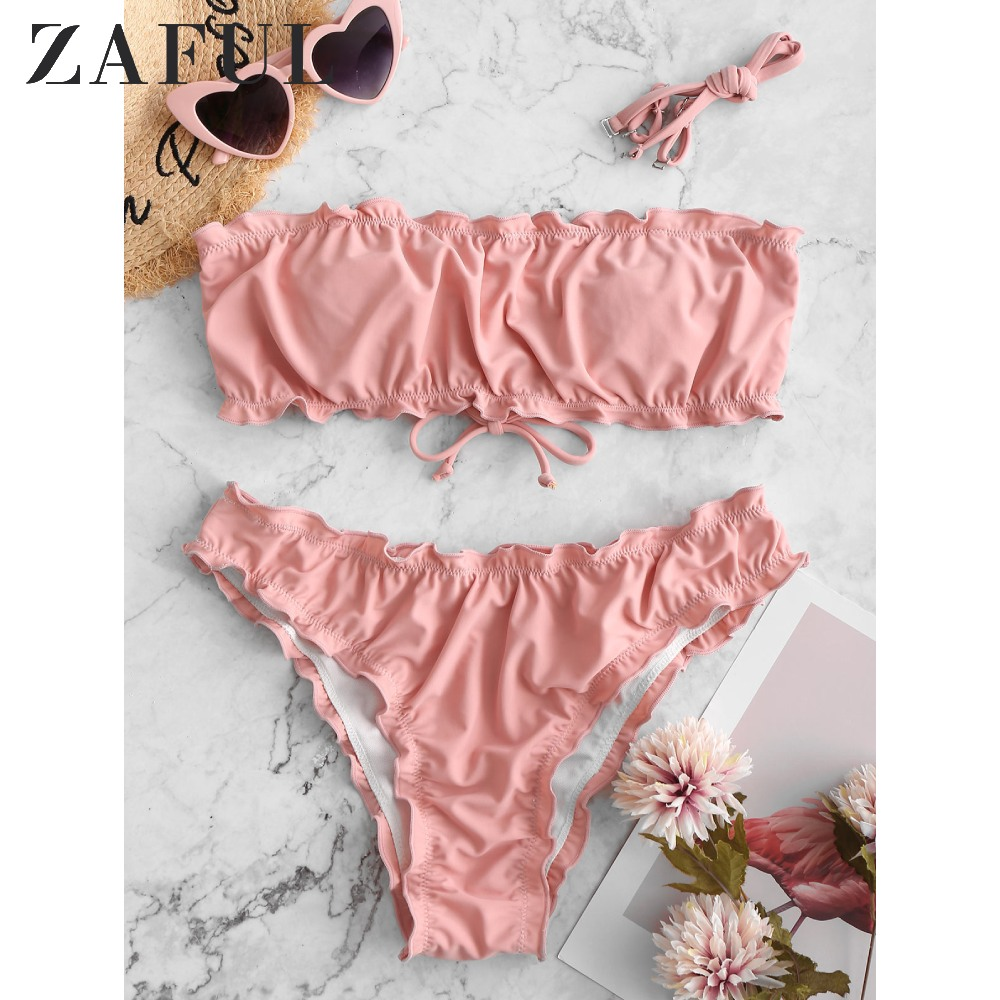 ZAFUL Swimsuit 2020 Biquini Daisy Print Lettuce Lace-Up Strapless Off The Shoulder Bandeau Bikini Swimwear Women Bathing Suit