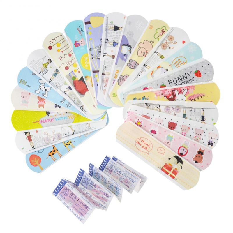 100Units Waterproof Cute Cartoon Band Aid Hemostasis Adhesive Bandages First Aid Emergency Kit Non Elastoplast For Kids Children