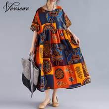 Versear artı boyutu etnik baskı elbise kadınlar yaz uzun pamuk keten rahat gevşek elbiseler elbise Vestidos olmadan kolye kolye