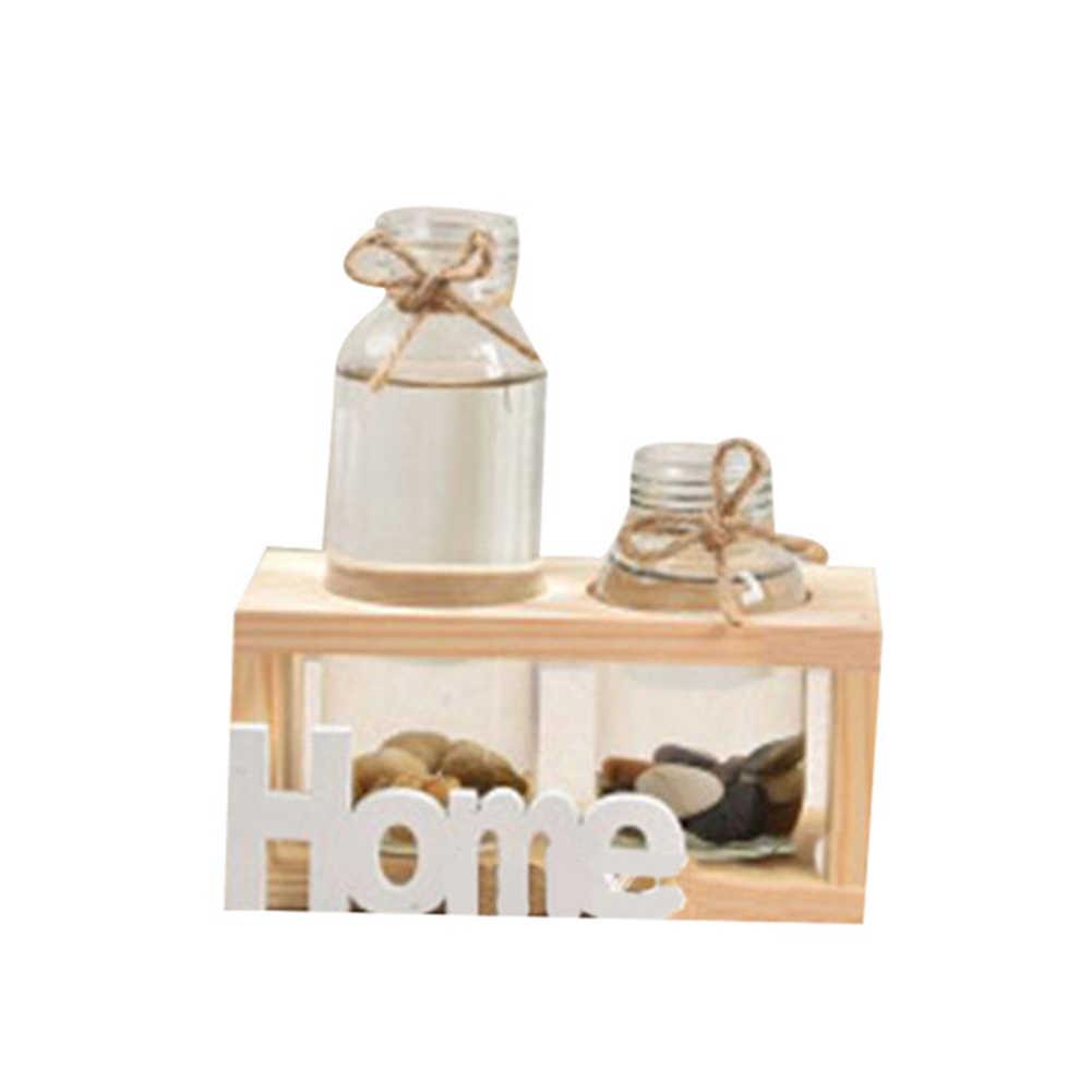 خشبية حامل زجاج معلق زهرية زهرة وعاء النبات المائية الحاويات إكسسوارات ديكور منزلي FPing