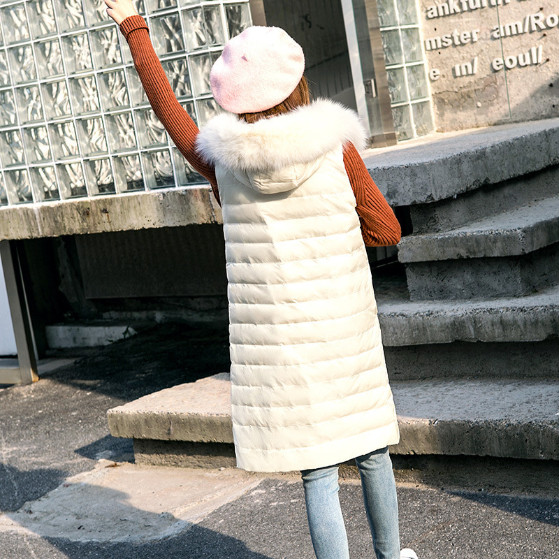 Women Winter Vests 2020 Fashion Duck Down Long Jacket Warm Sleeveless Vest Female Casual FeminineLady Elegant Coat LW1114