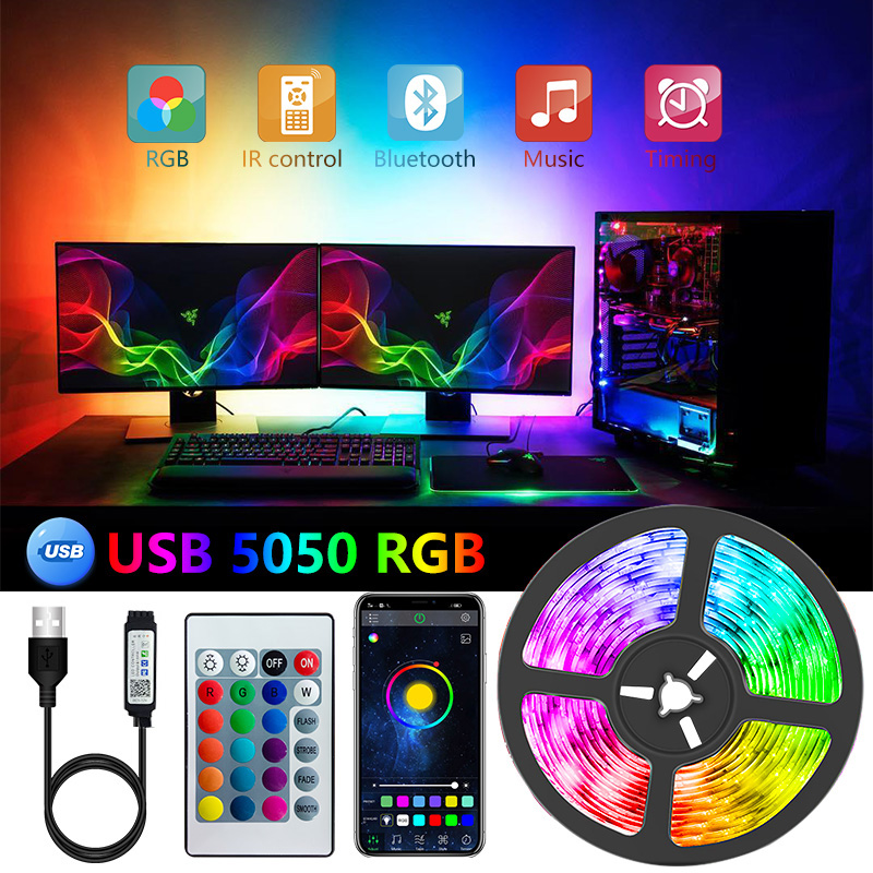 LED Strip 5V USB Flexible TV Backlight Lamp 5050 RGB Tape Diode Phone Bluetooth APP Background Lights For Room 1-30M Luces Led