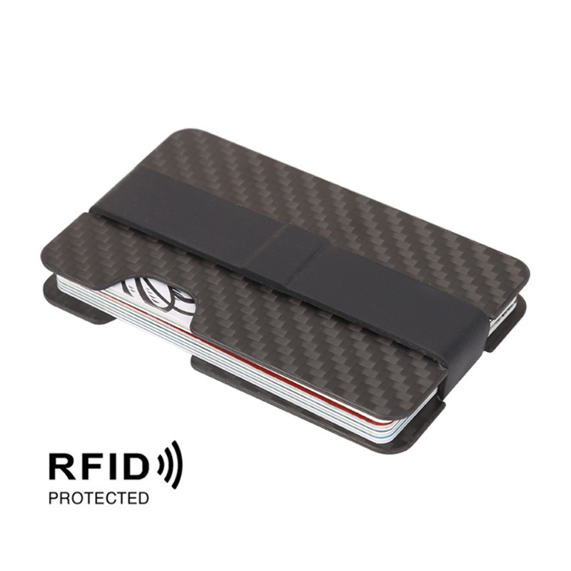 New Compact Carbon Fiber Mini Thin Money Clip Credit Card Sleeve ID Holder RFID Anti-Thief Card Wallet Case With Elastic Band