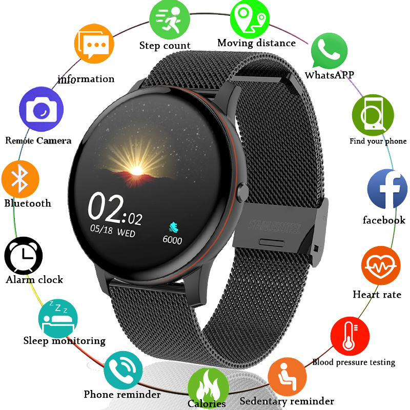 LIGE 2020 New Smart Watch Men Full Touch Screen Sports Multi-Function Watch Heart Rate Alarm Clock Reminder Fitness Smartwatch