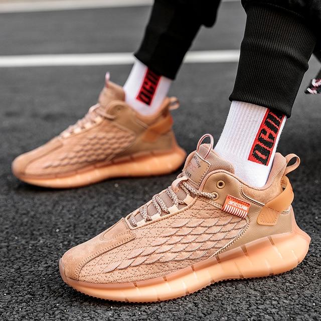 Zapatillas de correr para hombre, transpirables, cómodas, de alta calidad, para trotar, zapatos blancos de suela gruesa, calzado deportivo informal 5