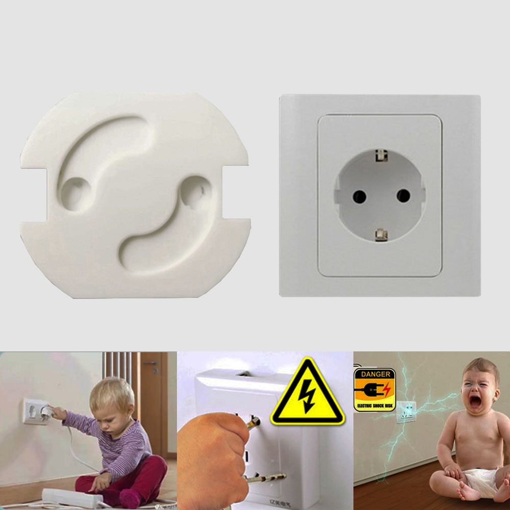 10 Pcs/Lot Baby Safety Rotate Cover 2 Holes EU Standard Children Electric Protection Socket Child Protection Kids Plastic Locks