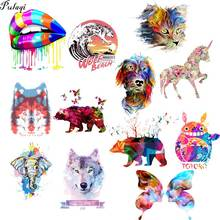 Pulaqi Colorful Art Painting Iron Print For Clothing Unicorn Patch Fabric Appliques Thermo Stickers Iron On Transfers For Tshirt