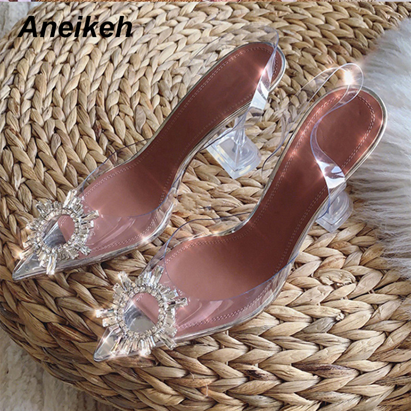 Aneikeh Big Size 41 42 43 44  45 Fashion Clear PVC Sandals Women Shoes Rhinestone Sunflower High Heels Summer Back Strap Sandals