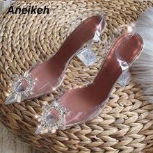 Aneikeh sandálias femininas, sapatos de salto alto tamanho grande 41 42 43 44 45, de pvc, com strass, girassol sandálias de tiras