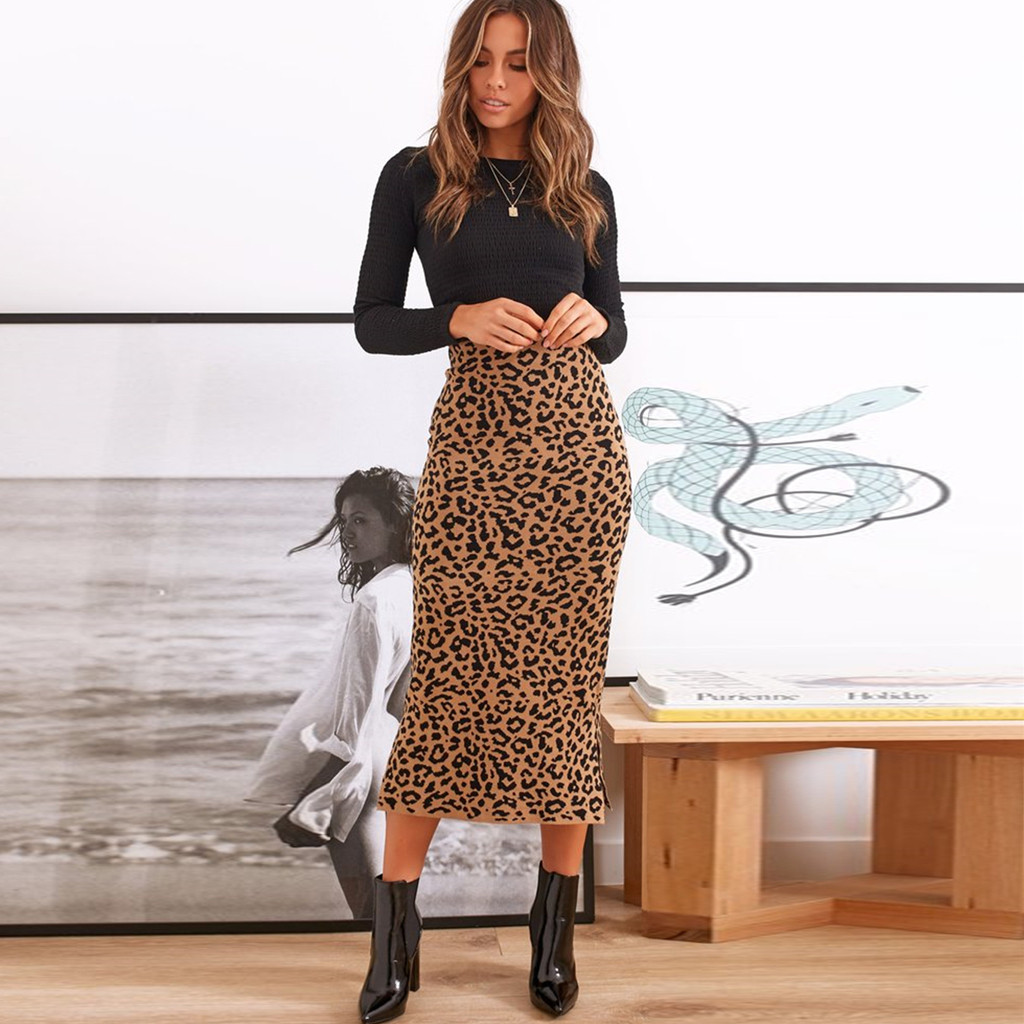2019 Women Sexy Casual Leopard High Waist Skirt Evening Party Long Skirt Ruffle Animal Print Skirts Womens Summer Casual 8.15