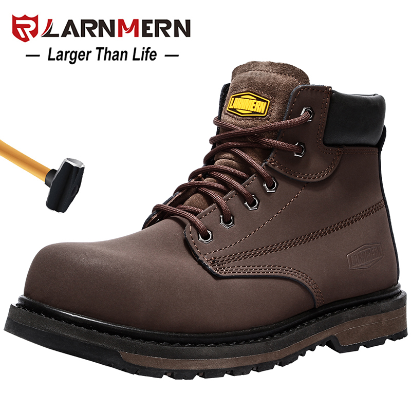 LARNMERN Men's Work Safety Shoes Breathable Construction Protective Footwear Steel Toe Anti-smashing Non-slip Sand-proof Shoes