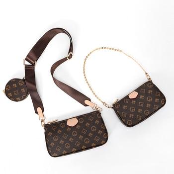 Vintage Printing Handbag 3-IN-1 Fashion Brand Messenger Bags for Women Pu Leather Crossbody Bag Lady Small Purse Handbag Totes 5