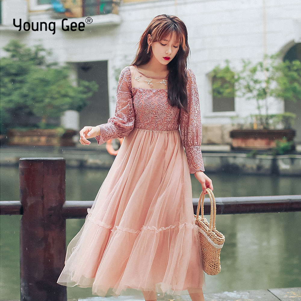 Young Gee Fashion Designer Runway Dress Womens 3/4 Sleeve Vintage Lace Floral Embroidery Elegant Midi Mesh Princess Dresses