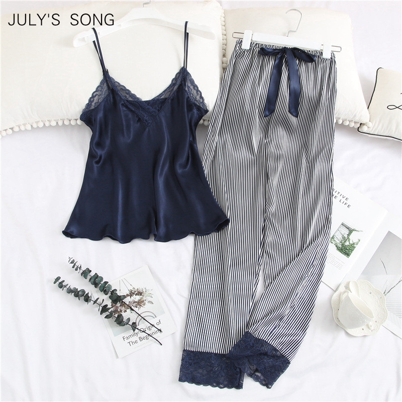 JULY'S SONG 2 Piece Woman Pajamas Set Sling Stain Long Pants Silk Sexy Sleepwear Woman Pink Top Strap Sling Summer Pyjama