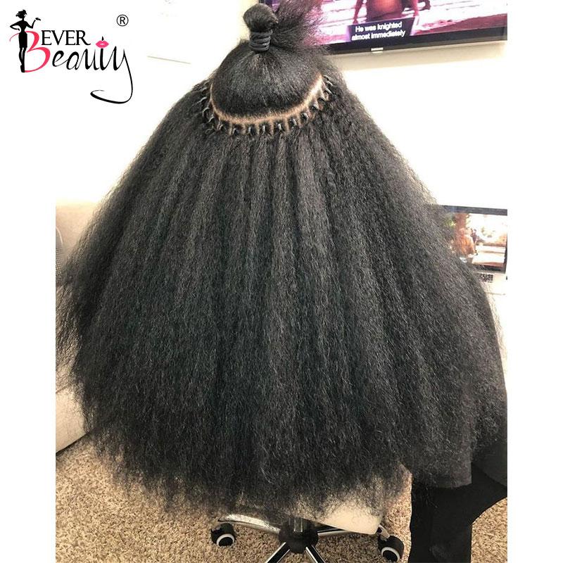 Brezilyalı Kinky düz I ucu mikrolinks % 100% insan bakire saç 4B 4C I ucu saç ekleme doğal siyah knot her zaman güzellik