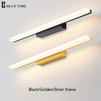 Golden Frame Fashion LED Wall Lights For Bathroom Bedside Lights Modern Mirror Front Light Black&White Finished LED Wall Lamps neo gleam bedroom bathroom led mirror light ac110 240v white black gold wall lamps aluminum modern makeup mirror lights