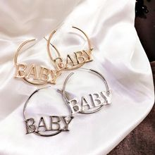 Alphabet Baby Letters Big Circle Hoop Earrings For Women Fashion Hip Hop Jewelry H8WF