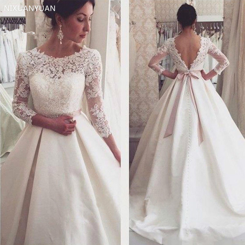 Vestido De Noiva 2020 Wedding Dresses Long A-Line 3/4 Sleeves Appliques Lace Sexy Backless Wedding Gown Bridal Dresses