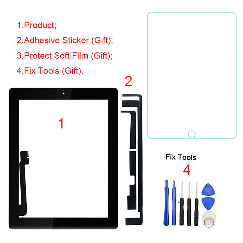 """1 pièces pour iPad 4 4th Gen A1458 A1459 A1460 9.7 """"LCD écran tactile extérieur numériseur avant panneau de verre remplacement-in Panneaux et tablettes LCD from Ordinateur et bureautique on XSP ZHOU Store"""