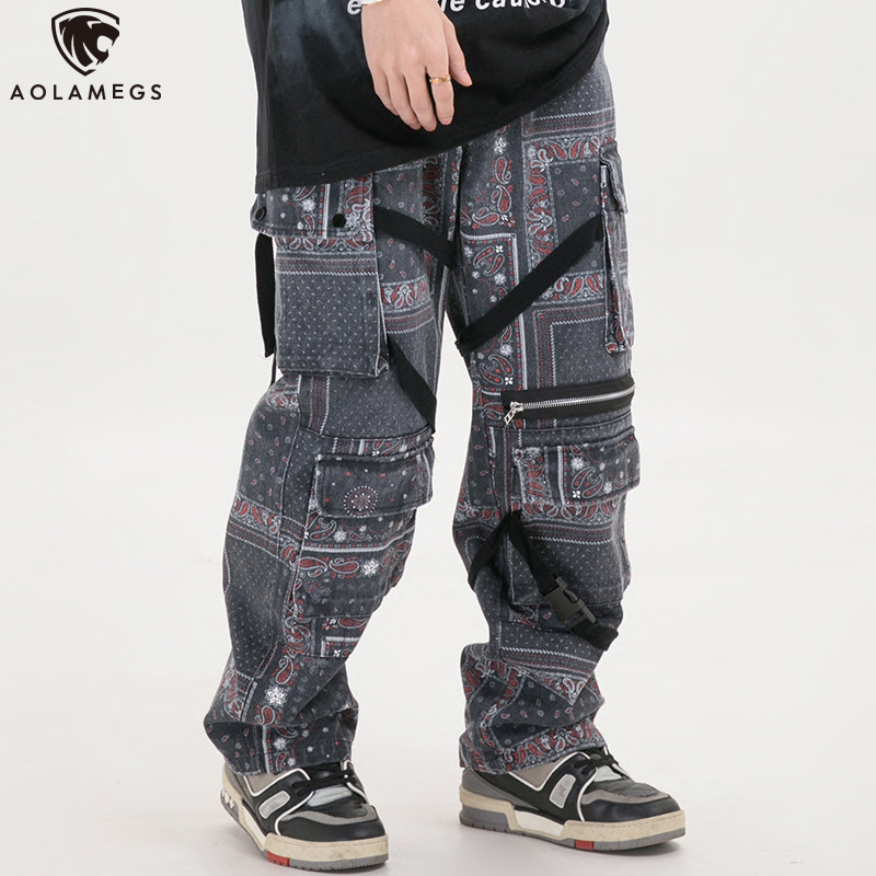 Aolamegs Men Sweatpants Ancient Plaid Printing Pants Elastic Waist Hip Hop Style Trousers Fashion Cozy Casual Streetwear Spring