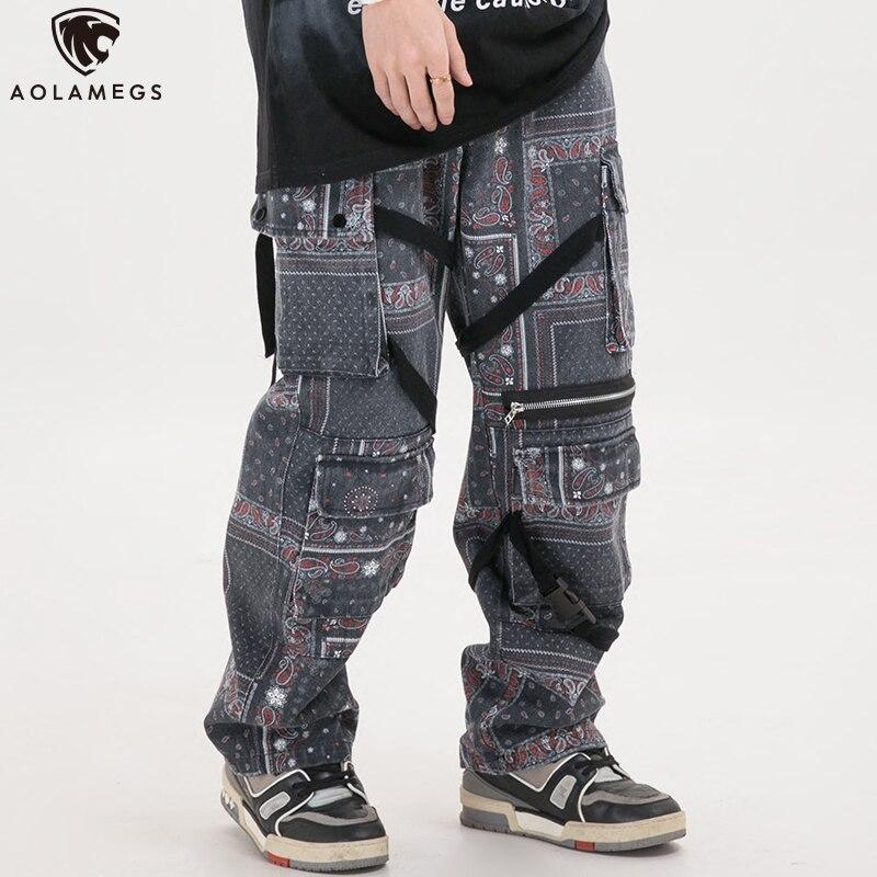 Aolamegs Men Sweatpants Ancient Plaid Printing Pants Elastic Waist Hip Hop Style Trousers Fashion Cozy Casual Streetwear Spring