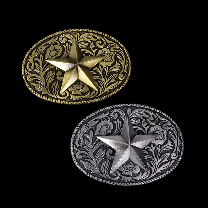 Western Cowboy Belt Buckle Metal Star Oval Bronze Metal Fashion Mens Buckles Jeans Belt Accessories