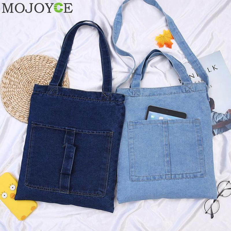 Women Bag Denim Tote Ladies Large Capacity Brief Handbags Female Shopping Book Teacher Nurse Organizer Shoulder Bag