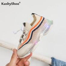 KushyShoo koreańskie Casual Fly tkane paski dziecięce buty LED Light-up dzieci Slip-on buty sportowe dziecięce trampki Tenis Infantil