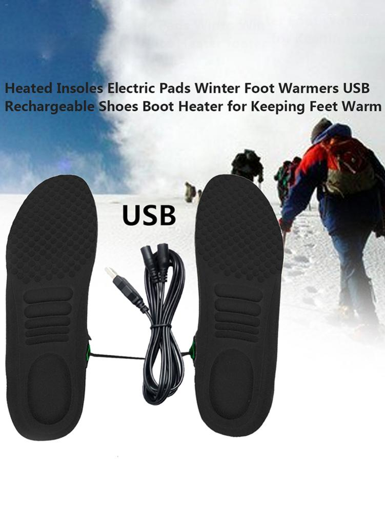 USB Electric Heated Insoles Pad Shoes Boots Heater Keep Feet Warm Comfortable