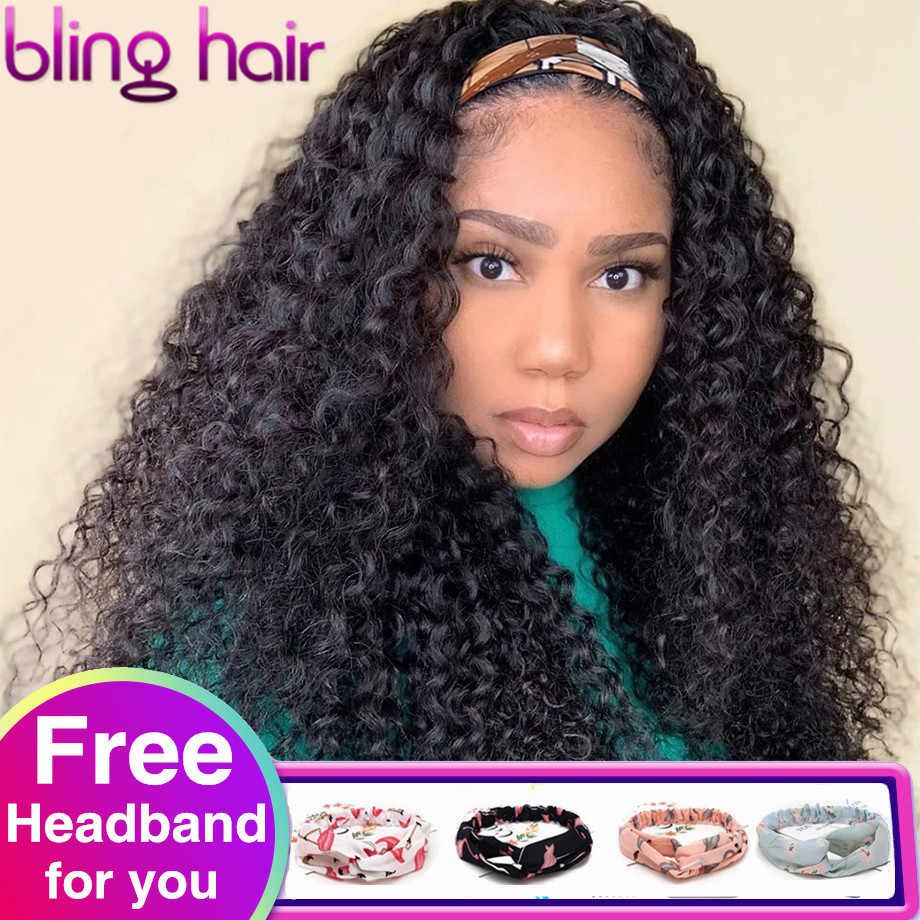 Kinky Curly Human Hair Wigs With Headband Brazilian Headband Wig For Women No Glue Full Machine Made Wig Cheap Wholesale Price