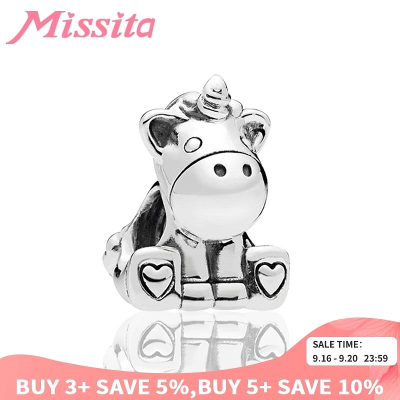 MISSITA Cute Unicorn Animal Beads fit Pandora Original Charm Bracelet DIY Jewelry Women Bracelets Accessories Gift