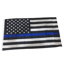 Blue Black American Flag Line US For Support Police And Law Enforcement Officers