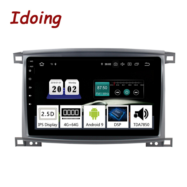 """Idoing 9""""/10.2 inch Octa Core Car Android 9.0 Radio Multimedia Player For Toyota Land Cruiser LC 100 2002 2007 GPS Navigation"""