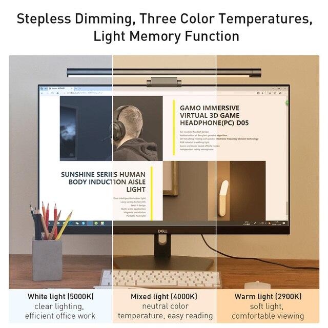 Baseus Led lampe de bureau réglable écran de lecture lumière suspendue ordinateur Protection des yeux lampe USB lumière Rechargeable pour bureau maison