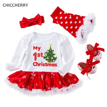 My First Christmas Baby Girl Kids Clothes Sets Xmas Tree Lace Tutu Petti Romper Dress Headband Leg Warmers Shoes Infant Clothing