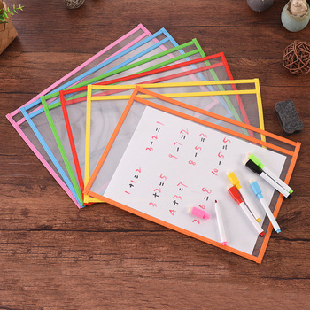 6PCS Reusable Clear PVC Dry Erase Pockets Sleeves+6PCS Pens For Office Classroom Organizers Organization Teaching Supplies Kids