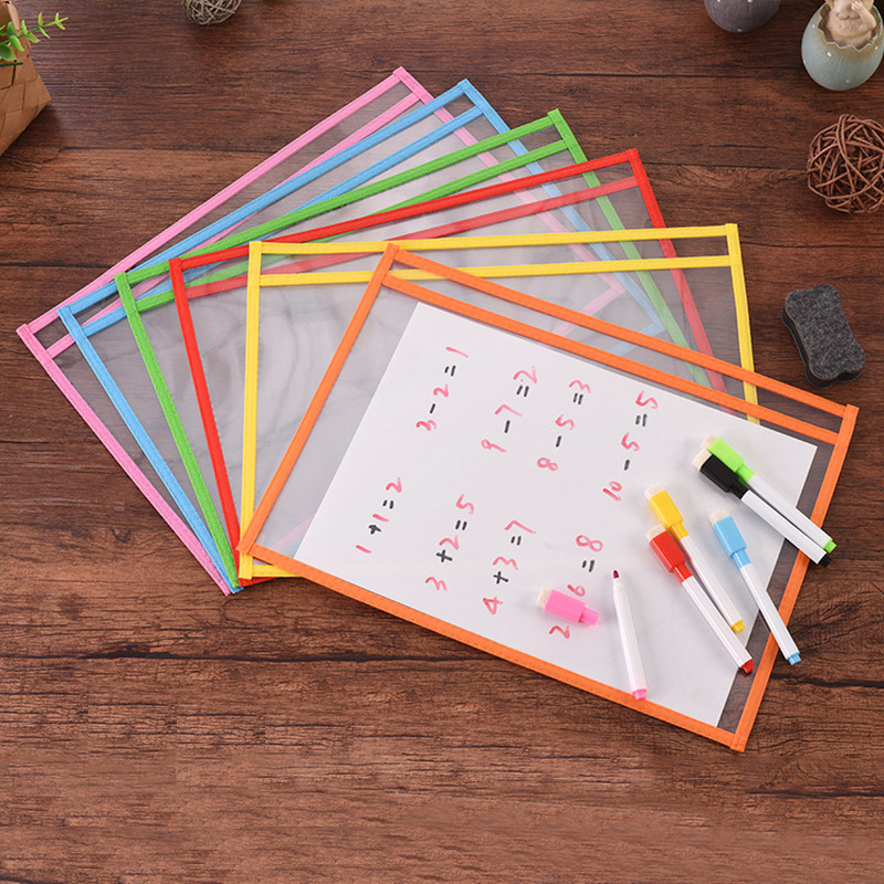 Dry Erase Pockets With Pen Holder Puzzle Toy Can Be Reused With PVC Clear Dry Brush Bag PET Writing Dry Wipe Bag Drawing Toy Kid