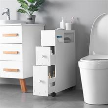 PVC Movable Bathroom Toilet Storage Cabinets Shelves Waterproof Drawers 52*16*70CM White