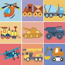 20x20 см картина по номерам для детей diy картинки Танк самолет