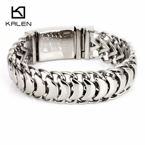 Image 1 - Kalen New High Polished Shiny Bracelets Stainless Steel Bike Link Chain Bike Chain Bracelets Fashion Male Accessories 2018