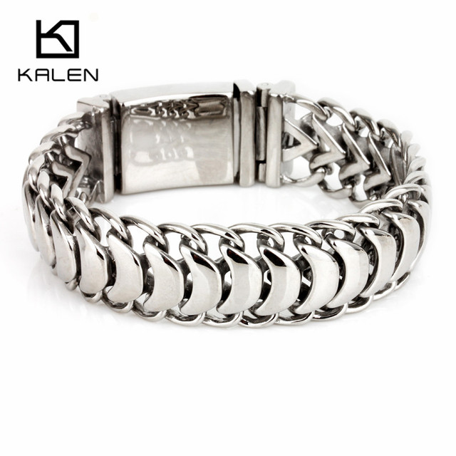 Kalen New High Polished Shiny Bracelets Stainless Steel Bike Link Chain Bike Chain Bracelets Fashion Male Accessories 2018