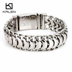 Image 1 - Kalen новый полированный блестящий браслет из нержавеющей стали, велосипедная цепь, велосипедная цепочка, браслеты, модные мужские аксессуары 2018