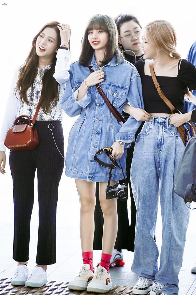 Kpop Blackpink Rose Streetwear The Same Fashion High Waist Jeans
