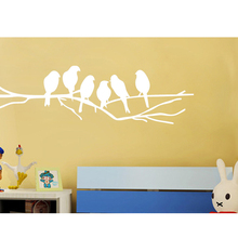 New Black Birds on the Tree Branch Wall Sticker for Living Room Wall Decals for Art Stickers Home Decor Murals Removable LW311 birds on the tree removable wall decals stickers living room furniture decor mural art sticker zy8208